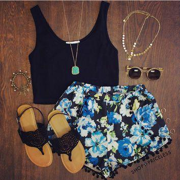 Virginia Pom Pom Shorts - Blue