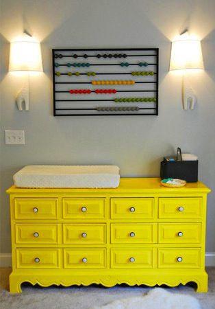 yellow chest of drawers  commode jaune