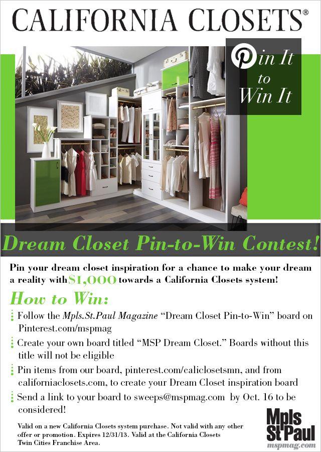 Dream Closet Pin To Win Contest! Pin To Win $1,000 Towards. California ...