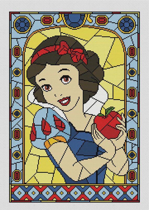 Disney cross stitch pattern Snow White in pdf.