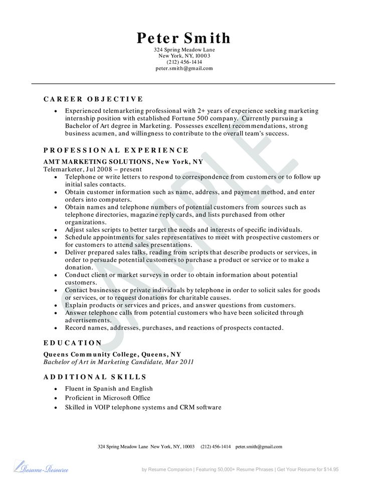 Telemarketer Resume Example - Business Resume Example