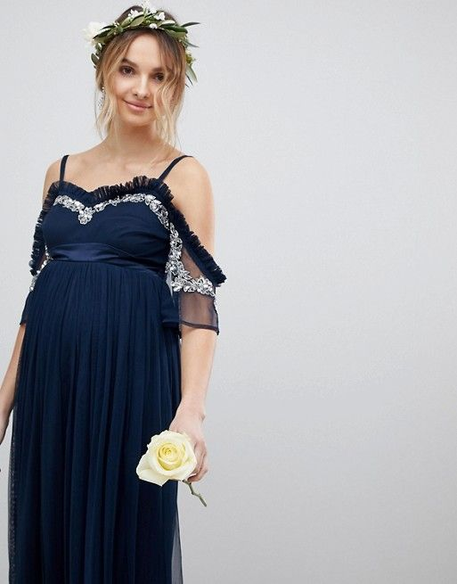 bb3a9827841fd4 Maya Maternity Cold Shoulder Sequin Detail Tulle Maxi Dress With ...