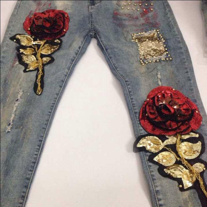 Hoge kwaliteit slim jeans lady elastische potlood elegante stijl strakke benen jeans ripped vintage rose lovertjes skinny jeans B117