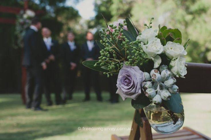 Margaret River Wedding ~ Rustic  ~ Aisle Flowers ~ Lilac ~ Greenery ~ Bohemian ~ Spring Wedding ~ Vintage ~ Wedding Floral Design ~ Australia weddings ~ UK Weddings ~ International wedding and event styling ~Styling By http://www.chicrustique.com.au/about ~ Photography www.freedomgarvey.com.au/