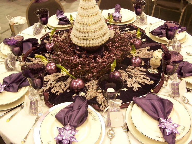 Purple Christmas Dinner Table