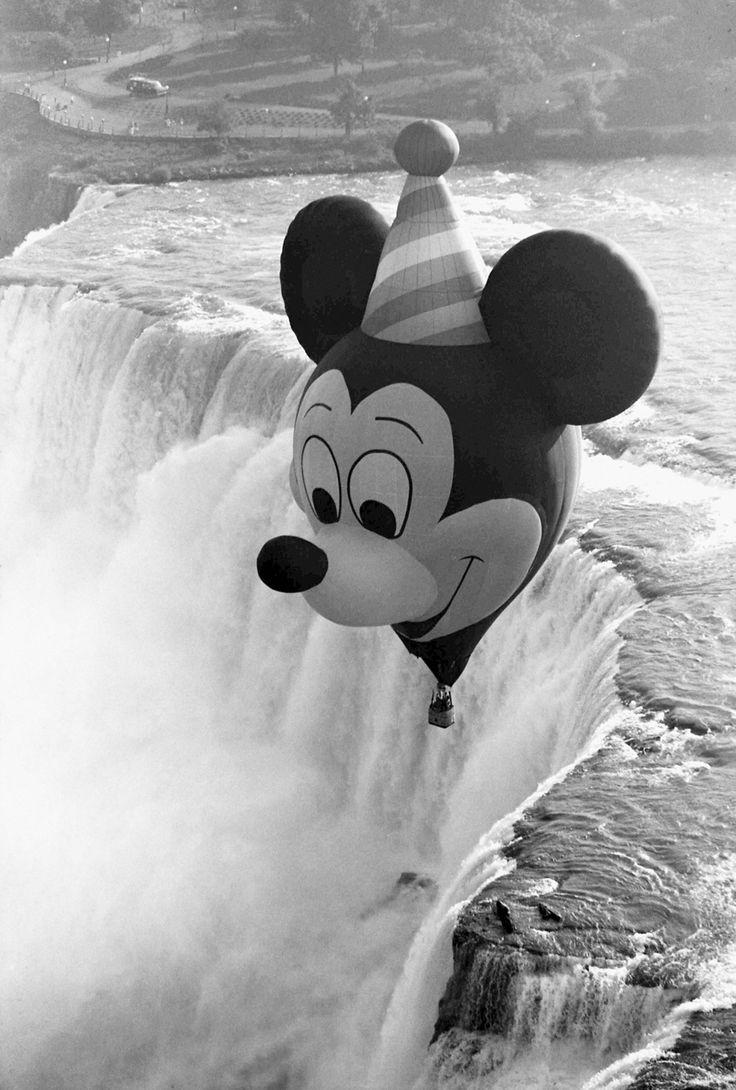 Mickey's 60th BIrthday Celebration, 1988 - A brand new hot air balloon flies over the Niagara Falls, Photo by Gene Duncan.