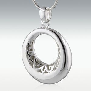 Eternity Circle Sterling Silver Cremation Jewelry - Engravable