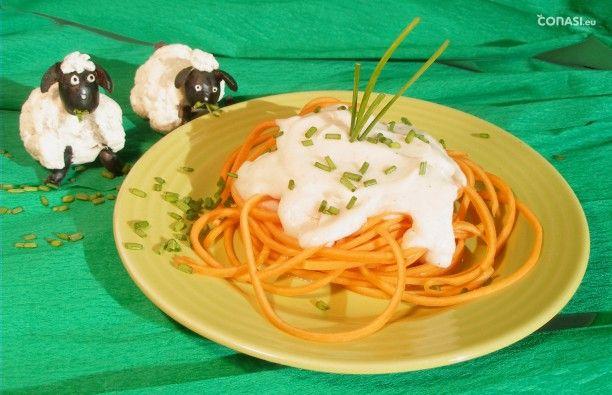Espaguetis de calabaza con bechamel de coliflor