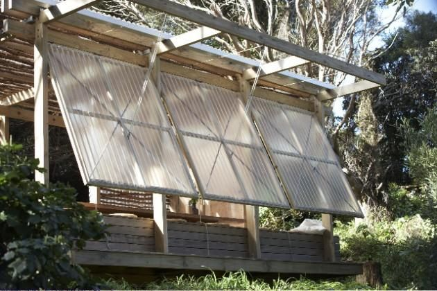 Think about the skin you use to wrap a space. This is an outdoor 'room' - a pavilion - with an inexpensive skin that is so delicate and beautiful, it breathes. Designed by South African-trained, New Zealand-based, Lance and Nicky Herbst of Herbst Architects