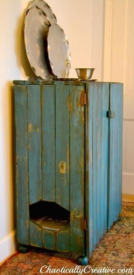 Your interior design factor won't suffer due to your cat's litter box with this shabby chic commode, in both senses of the word!  Photo:  Hometalk