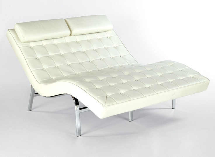 double leather chase lounge chair w chromed frame chaise