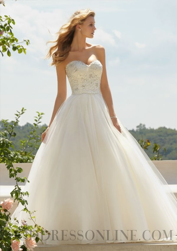 A-line Court Train Sweetheart Tulle Wedding Dresses