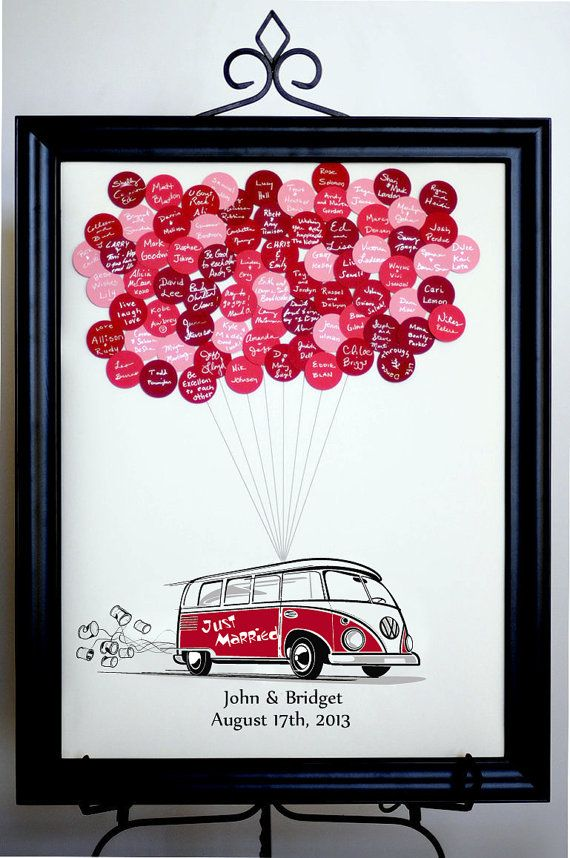 Wedding Guest Book globos VW Bus por SayAnythingDesign en Etsy