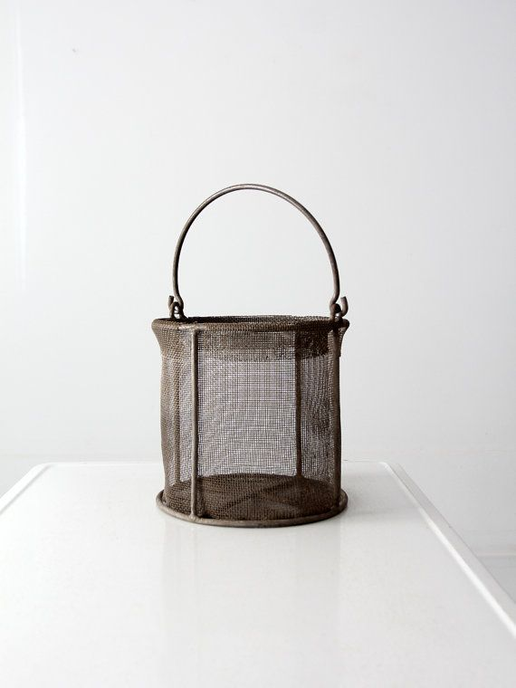 vintage wire mesh bucket industrial waste can by 86home on Etsy