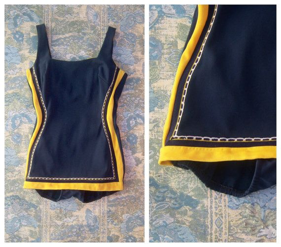 Vintage 40's swimsuit / navy blue & yellow one piece / Ester William style Hollywood glam by dahlilafound, $98.00