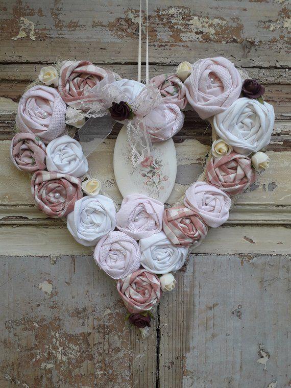 Romantik Turkranz Sisal Herz Rosa Stoff Rosen Und Porzellan Schild Fabric Roses Handmade Floral Wreath
