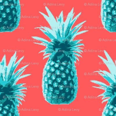 Pineapples retro style - teal on coral - thecumulusfactory