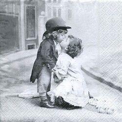 Serviett, 33x33 cm - Kissing Children