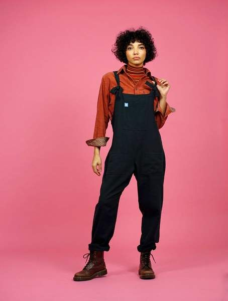 'Umi' Handmade Cotton Dungarees in Midnight Black by Lucy and Yak UK