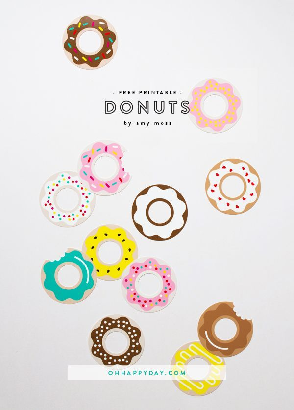 by Amy Moss I've created a set of 12 cute and colourful donut printables! These would be perfect for a donut themed party or a variety of fun party and craft projects! Here are some ideas: Create a ga