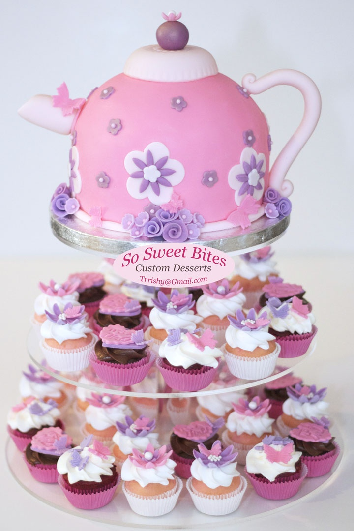 Tea Pot Cake Cupcakes For A Girl Baby Shower For