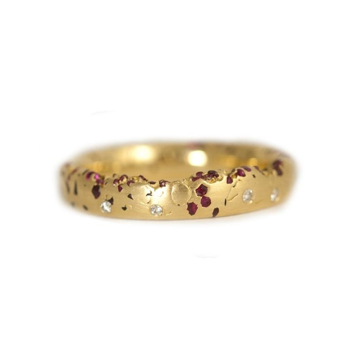 Eroded Confetti Diamond & Ruby Ring