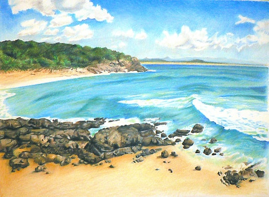Behind Noosa by Jacqui Coote - hand drawn with coloured pencil