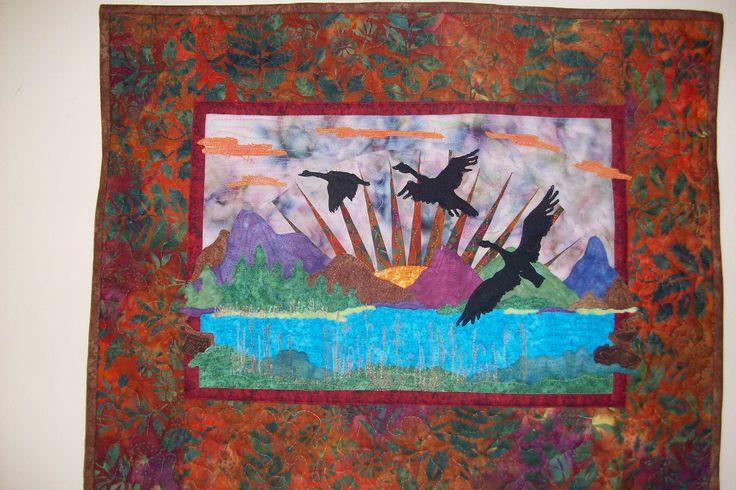 Autumn- over the Mountains Größe 56x44 cm nach einer Anleitung von Sylvias Art Quilt