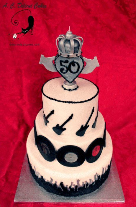 SIMPLE MINDS 50TH BIRTHDAY CAKE - by delicutcakes @ CakesDecor.com - cake decorating website