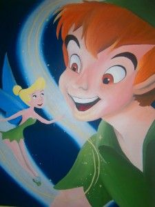 Peter Pan and Tinker Bell Disney painting