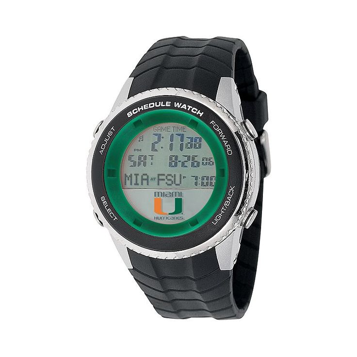 Game Time Miami Hurricanes Stainless Steel Digital Schedule Watch - Men, Black