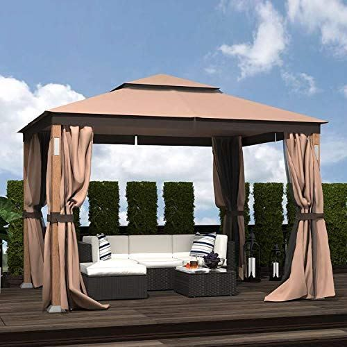 Homevibes 10 X 12 Ft Steel Soft Top Gazebo Zippered 2 Tier Curtain Double Roof Vented Gazebo Gazebo Acoustic Panels Outdoor Decor