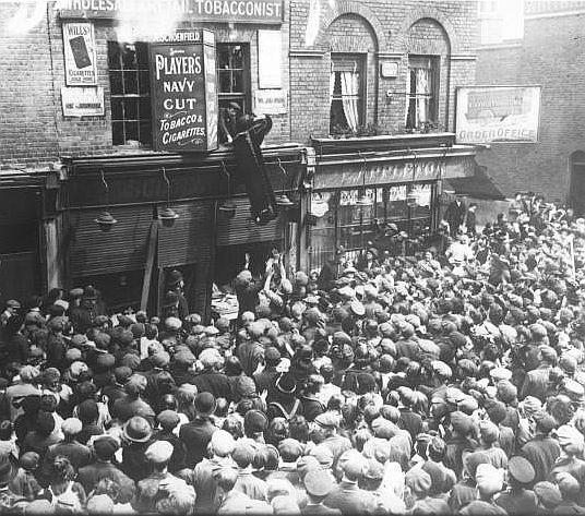The Lusitania riots - 136 Chrisp St, Poplar, London -Tobacconist's shop belonging to Adolph Shoenfeld.
