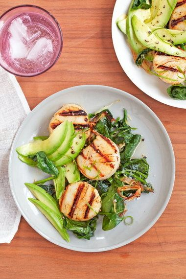 """Honey-lime scallops with wilted spinach  From """"The Joy Fit Club: Cookbook, Diet Plan & Inspiration"""""""