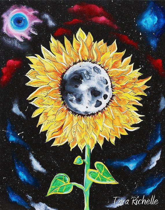 Moonflowers, oil painting, sunflower painting, moon, space, galaxies, stars, wall art, home decor, moon flower, original painting, outerspace, trippy