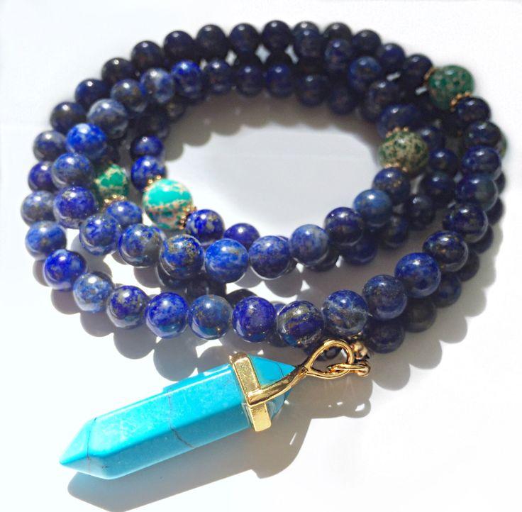 108 Mala, Mala Necklace, Lapis Mala, Mala beads, Yoga gift, 108 Mala beads, Japa Mala, Yoga jewelry, Mala 108 beads, prayer beads, Mala,MLGJ von VibeJewelryAnnaK auf Etsy https://www.etsy.com/de/listing/259226442/108-mala-mala-necklace-lapis-mala-mala