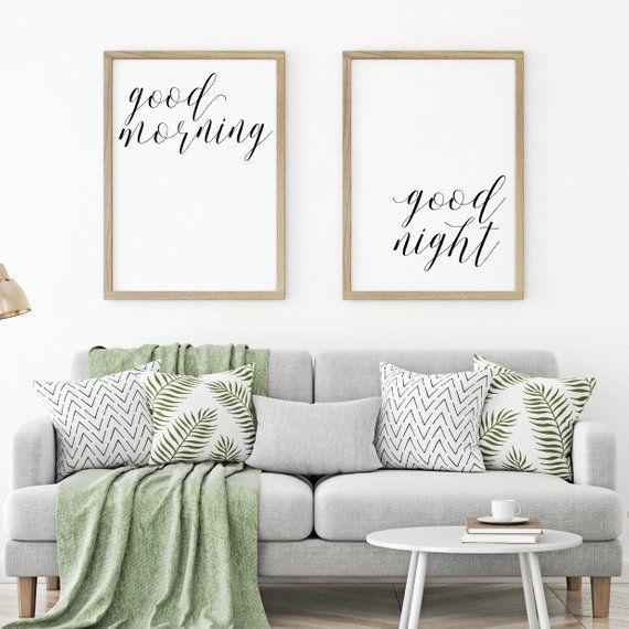 good morning good night sign minimalist art large bedroom wall art rh pinterest com