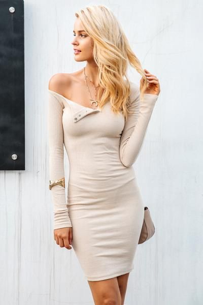 7e848c20129 Side Button One Shoulder Bodycon Short Mini Dress. Also available in White