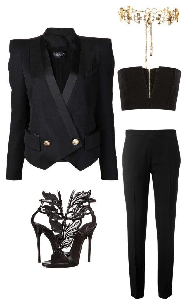 The Sexy Tuxedo by zarastyling on Polyvore featuring polyvore, fashion, style, Balmain, Chloé, Giuseppe Zanotti, Erickson Beamon and clothing