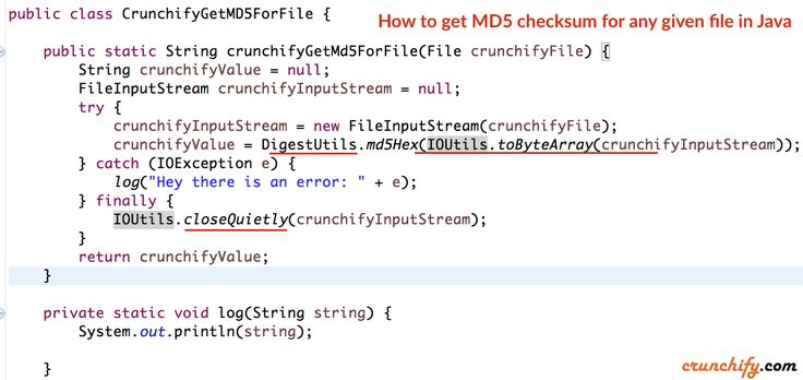How to get #MD5 #checksum for any given file in #Java? Use commons-codec's DigestUtils.md5Hex http://crunchify.me/1VIOxTv