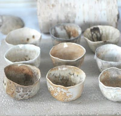 Wobbly little tea cups in natural glaze shades  Tea cups from whiteforestpottery