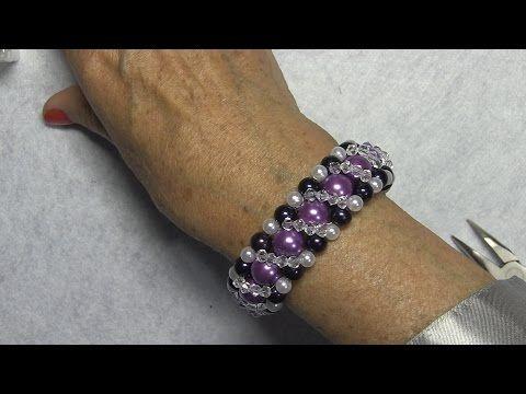 # DIY - Pulsera facil, de perlas, facetadas y cristalitos # - Easy bracelet - YouTube