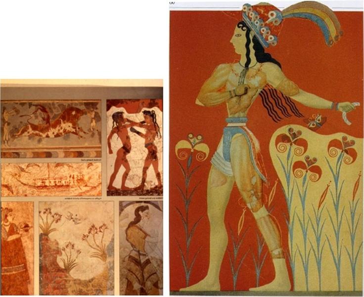 고대 그리스의 벽화이다. 인물의 몸통이 정면을 향하고 있는 반면 얼굴은 옆면을 향한 그림의 구도를 보아 고대 이집트의 그림 구도와 매우 비슷하다. 입고있는 의상 역시 이집트 인들이 입던 로인클로스로 같다. 당시에는 짧은 천으로 허리만 두르는 기본적인 로인클로스의 변형으로 한쪽 다리만 감싸는 로인클로스도 착용되었다.