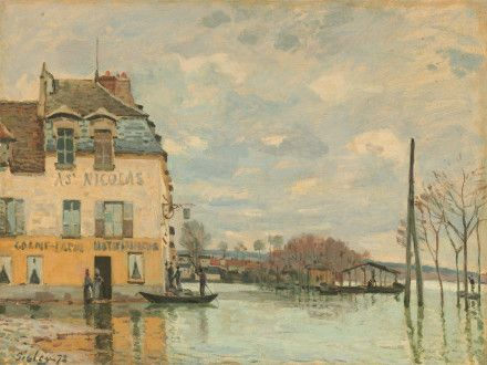 description of sisley s painting flood at port marly 1872 according to this article