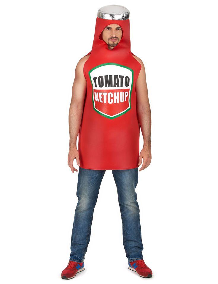 Costume da bottiglia di ketchup per adulto: Questo travestimento da ketchup per adulto consisite in una tuta di gommapiuma sottile con cappuccio integrato. Tale cappuccio rievoca il collo della bottiglia con il suo tappo.Disponibile in taglia...
