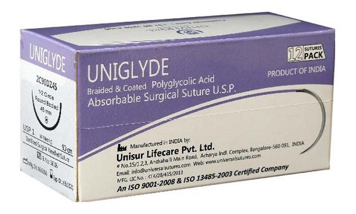 UNIGLYDE Suture is an absorbable, sterile, synthetic #surgical #suture, composed of homopolymers of Glycolide (100%). This surgical suture is also available as undyed fulfilling all the requirements as per United States Pharmacopeia for Absorbable Surgical suture. You can get complete info at http://universalsutures.com/product-uniglyde.php