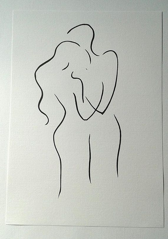 Couple Drawing Abstract Embrace Sketch Man And Woman