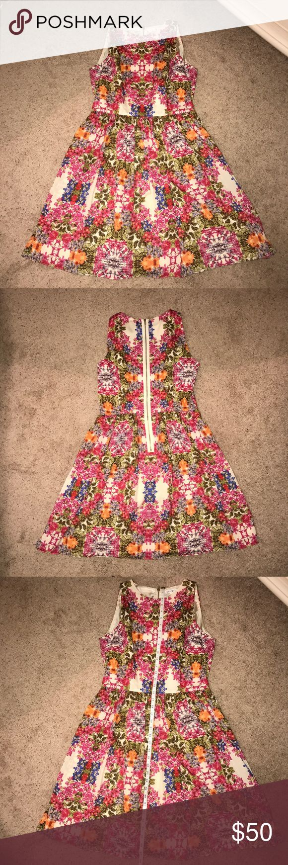 Maggs London Floral Dress Perfect dress for a summer wedding. Bold, gorgeous floral print, A-line cut, zipper back detail and high neckline make this the perfect dress! Worn 1 time and dry cleaned after- looks brand new! Unfortunately no longer fits. Open to offers! Maggy London Dresses