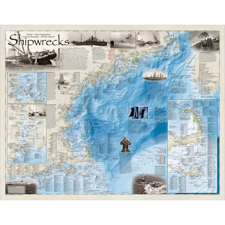 Middle East Map National Geographic%0A National Geographic Maps Shipwrecks of the Northeast Wall Map Material   Laminated