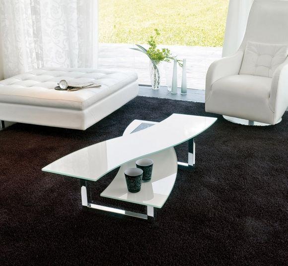 Couchtisch Weiss Glas Stahl Beine Schwarzer Teppich